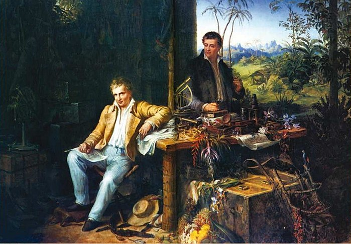 Alexander von Humboldt y Bonpland, en la selva amazónica del río Casiquiare (óleo de Eduard Ender, hacia 1850).