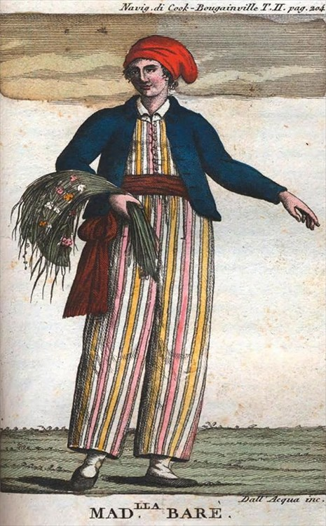 Jeanne Baret, vestida de marinero, según un retrato de 1817, posterior a su muerte.